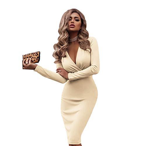 Carolilly Solide Sexy V-Ausschnitt Überlappung Hohe Taille Fit Langarm Midi Bodycon Herbst Kleid Frauen Party Nacht Wrap Sheath Club Schlanke Kleider (Beige, M)