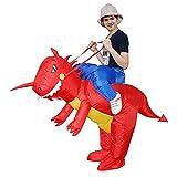 Hao-zhuokun Disfraz de Dinosaurio,Disfraz Inflable de Jinete de Dinosaurio T-Rex Disfraz de Halloween de Navidad para Adultos y niños Disfraces inflables Cosplay Fiesta de Disfraces