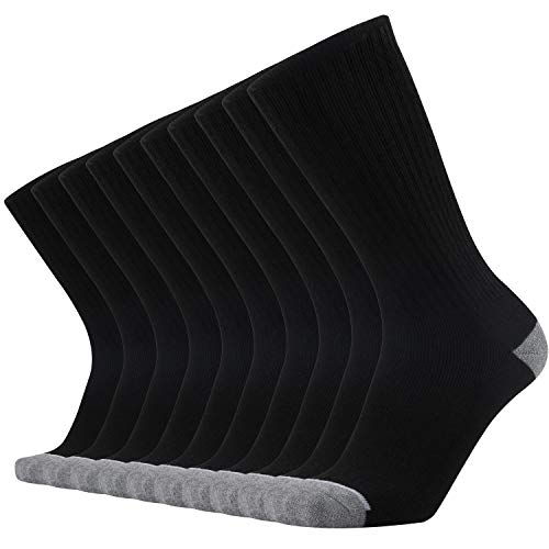 ONKE Cotton Moisture Wicking Work Boots Athletic Cushion Crew Socks Men Pack(Black L)