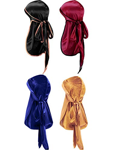 Tatuo 2 Pieces Velvet Durag and 2 Pieces Silky Soft Durag Cap Headwraps with Long Tail and Wide Straps for 360 Waves (Black, Red, Blue, Gold)
