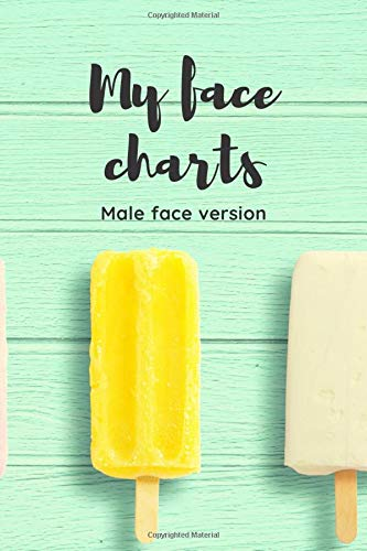 My face charts - male face version (cover with icicles) - makeup book for artists - faces of adults - book for both beginners and professionals - paper for drawing and coloring