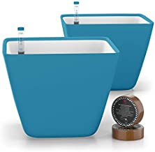 GARDENIX DECOR 5'' Self Watering Pots for Indoor Plants - Flower Pot with Water Level Indicator for Plants, Grow Tracking Tool - Self Watering Planter Plant Pot - Coco Coir - Teal