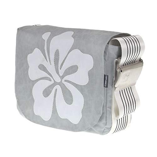 Segeltuchtasche CANVASCO Urban S/Tasche grau/Gurt weiß-schwarz/Motiv Hibiskus weiß