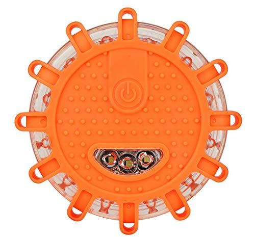 Plextone Feux de Route d'avertissement d'urgence à LED (2 Pack Orange) Modes de clignotement Multiples pour véhicules Automobiles et Marins Remplacement Facile de la Batterie (Orange)