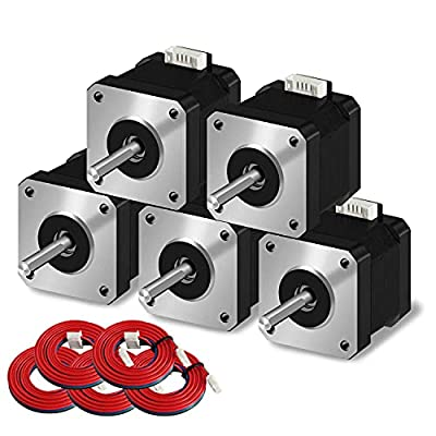 SIMAX3D Nema 17 stepper motor 5pcs 42 x 38 mm 1.5 A 2 phase 4 wires 1.8 degrees with 39.3 inch cable for Creality CR-10 10S Ender 3 3D printer/CNC extruder and Y-axis