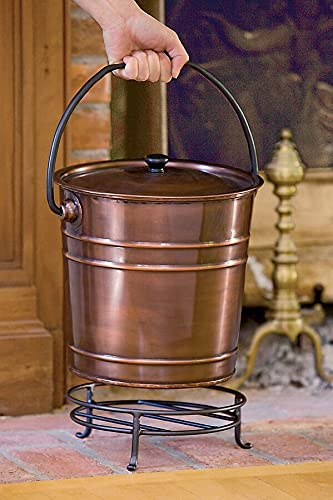 Steel Copper Finish Fireplace Ash Bucket With Floor Protection Stand, Holds 8 Quarts