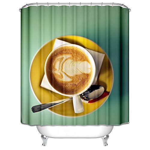 Abellale Polyester Duschvorhänge Cappuccino Design Duschvorhang Bunt Badvorhang 150x200CM