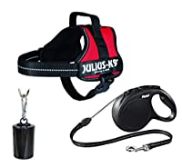 AN OUTDOOR PACKAGE for your adventurous canine. Bundle includes a mini size, red JULIUS-K9 Power Harness, retractable flexi classic cord lead 8m and Trixie dog dirt dispenser with 2 rolls bags included (20 plastic bags per roll). JULIUS-K9 POWER HARN...