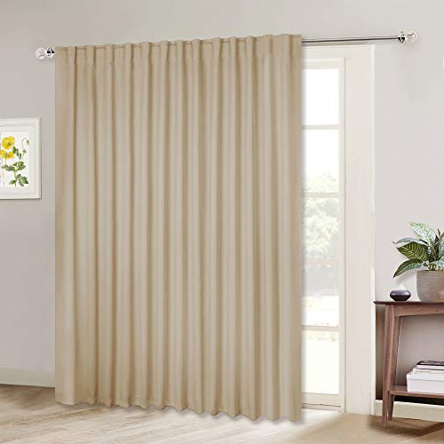 NICETOWN Room Darkening Sliding Glass Door Curtain, Patio Door Blind, Home Room Darkening Curtains for Villa/Hall, Slider Blinds for Bedroom (Biscotti Beige=Yellowish Beige, 100 inches x 84 inches)