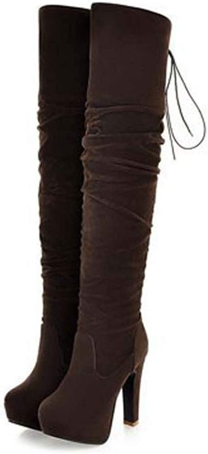 Hoxekle Fashion Style High Over-The-Knee Boots for Women Flock Tassel Ladies Long Boots Sexy Winter shoes