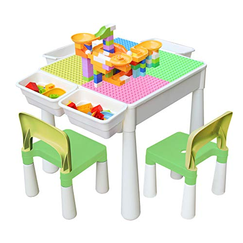Kids 4-in-1 Multi Activity Build Table and 2 Chair Set Large Small Building Blocks Water Table Building Block Table Play Arts Crafts Table with Storage Space for Kids Toddlers (Pink Candy, 20 inch)