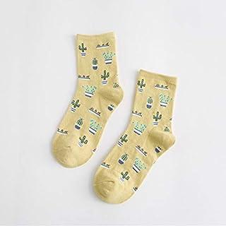 Zyalex - 2 Pair Fashion Women Plant Cactus Pattern Cacti Socks Plant Ball Cactus Harajuku Comfortable Lovely Girl Cotton socks