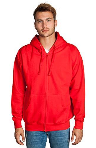 Zeratova Mens Full Zip up Hoodie Fleece Heavyweight Hooded Jacket Sweatshirt Long Sleeve Red