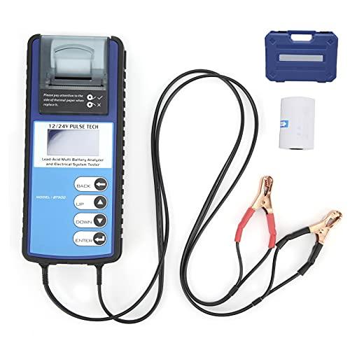 EVTSCAN Probador de batería de Coche 12 V/24 V, probador AGM, Herramientas de diagnóstico de batería, analizador de Sistema de Carga Digital LCD BT900 con Impresora