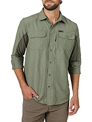 ATG by Wrangler Men's Long Sleeve Mixed Material Shirt, Dusty Olive, Large