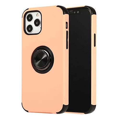 FHZXHY Funda con función atril compatible con iPhone 12 Mini (5 g 5.4 pulgadas 2020) 360 grados de rotación de anillo de dedo con carcasa protectora magnética para coche anti-caída, oro rosa