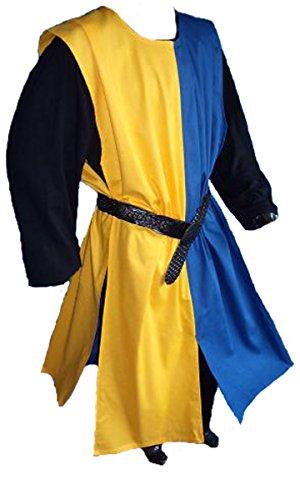 Dark Dreams Gothic Mittelalter LARP Waffenrock Ludger, Größe:Freesize, Farbe:blau/gelb
