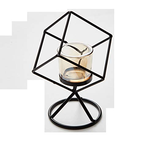 NYKK Portavelas Candelabro de Cristal geométrico Moderno del Metal con Soporte de Hierro Forjado, el Banquete de Boda decoración / / Home (Color : Black-b)