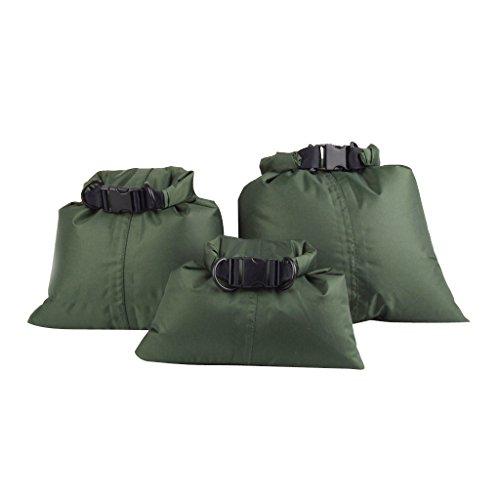 3pcs Sac Etanche Poche de Rangement Pour Canoë Rafting Camping - Vert Armée