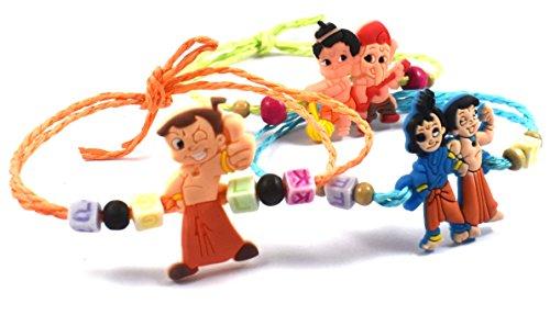 Urvi Creations Multicolour Fabric Rakhi for Kids- 3 Pcs