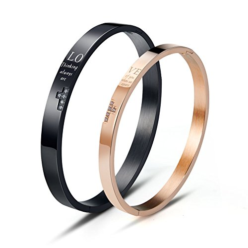 Wolentty His and Hers Matching Bracelets Stainless Steel Love Couple Bracelet for Men Women Gifts