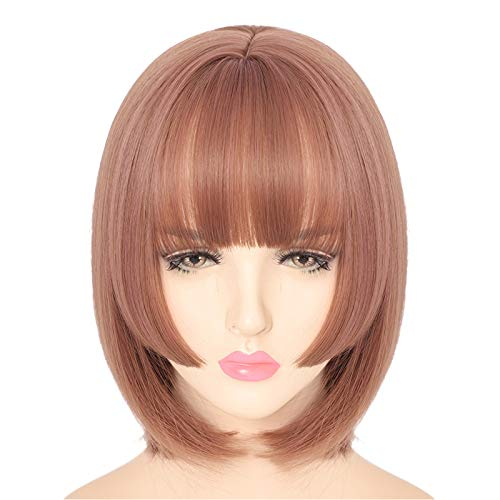 Wig Fluffy Shoulder Length Natural Synthetic Hair Bob Wig Cosplay Party Wigs for Women Daily False Hair(Pink)