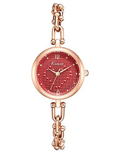 Alienwork Reloj Mujer Oro Rosa Pulsera de Metal Acero Rojo Borla Elegante Pequeña