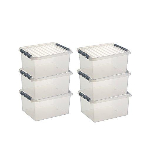 6x SUNWARE Q-Line Box - 36 Liter - 500 x 400 x 260mm - transparent/silber