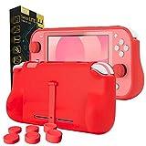 Orzly Funda para la Nintendo Switch Lite – Comfort Grip Case, Carcasa Protectora con puños de Mano Rellenos Integrados para la Parte Posterior de la Consola Switch Lite, con Soporte Plegable - Rojo