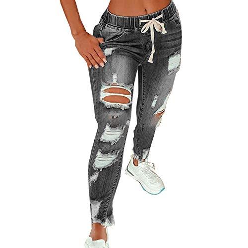 Jeans Acampanados De Cintura Alta De Color SóLido, Streetwear con CordóN Pantalones De Pierna Ancha EláSticos Rasgados Pantalones Acampanados Jeans Ajustados De Mezclilla ✅