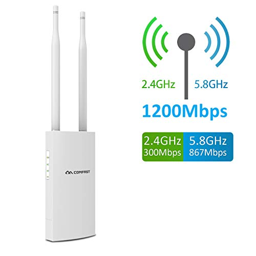 Outdoor Wireless Access Point, AC1200 Dual Band 2.4GHz & 5.8GHz Wireless WiFi Access Points, Weatherproof with POE
