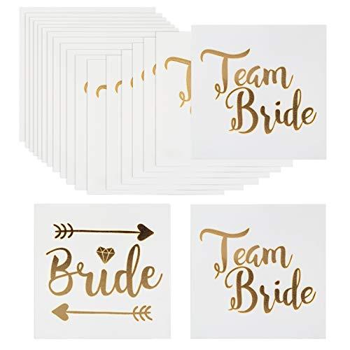 Naler 20 x JGA Tattoo Gold Junggesellinnenabschied Temporäre Klebetattoos Braut Team Bride für Hochzeit Bachelor Hen Party
