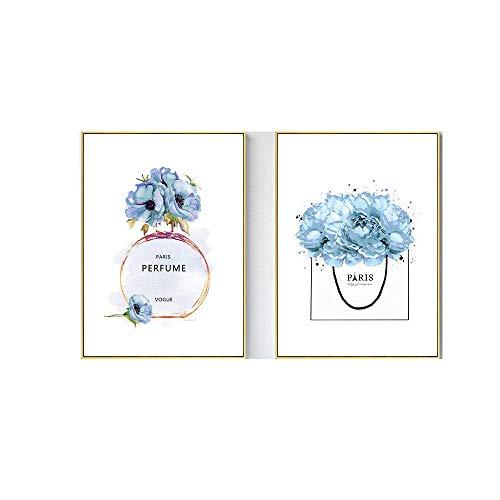 LTXMZ Vogue ParfüM Poster Mode Leinwand Kunstdruck GemäLde Blaue Wand Bilder Blaue Blumen Bilder Wandbilder Modernes Wohnzimmer Schlafzimmer Dekor 40x60cmx2 Kein Rahmen