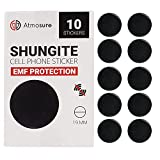 Atmosure Shungite Phone Protector Stickers (10 pcs) — Shungite EMF Protection Cell Phone 19mm Stickers with Guide for Mobile, Laptop, Computer, Tablet, Electronic Devices