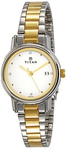 Titan Reloj analógico de mujer con esfera blanca-NK2572BM01