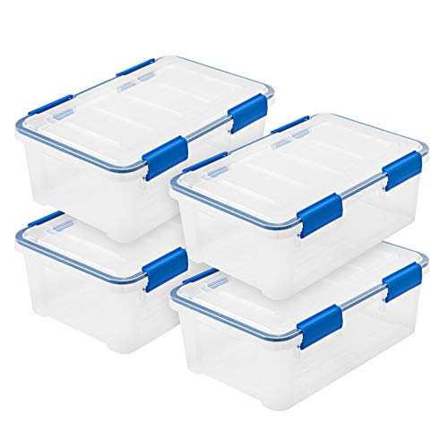 IRIS USA WSB-SS 16 Quart WEATHERTIGHT Multi-Purpose Storage Box, Clear with Blue Buckles, 4 Pack