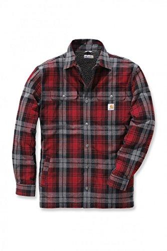Carhartt Hubbard Shirt Jacket - Warme Flannel-Hemdjacke, Dunkelrot, Gr. XL