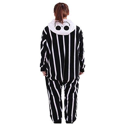 The Nightmare Before Christmas Jack Skellington Skeleton Romper Adult Men Women Unisex Animal Kigurumi Cosplay Pajamas Outfit Nonopnd Nightclothes Onesies Halloween Costume Clothing (S(151CM-161CM))