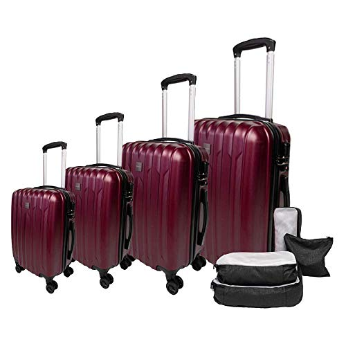 Skaihoppr 4 Piece Luggage Set, Hardside with Spinner Wheels & TSA Lock, including Packing Cubes & Shoe Bag