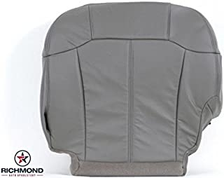 Richmond Auto Upholstery 2001 Chevy Suburban 1500 LT LS Z71 Driver Side Bottom Replacement Leather Seat Cover, Gray