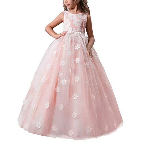 TTYAOVO Chicas Muestran Princesa Vestido de Flores para niños Baile hinchado Bola Vestidos de Tul Tamaño 6-7 años Rosada