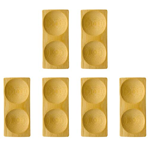 Angoily 6 Unidades de Bambú Bandeja para Servir Aperitivos Plato de Tuerca de Caramelo Plato de Postre Plato de Sushi Plato de Inmersión Platos de Aperitivo de Postre para El Hogar