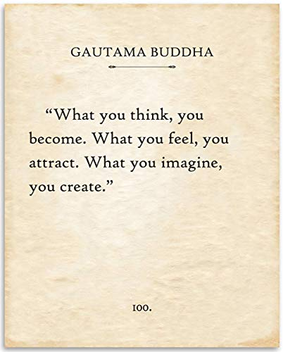 Gautama Buddha - What You Think You Become - 11x14 Unframed Typography Book Page Print - Great Inspirational and Motivational Gift and Decor Under $15
