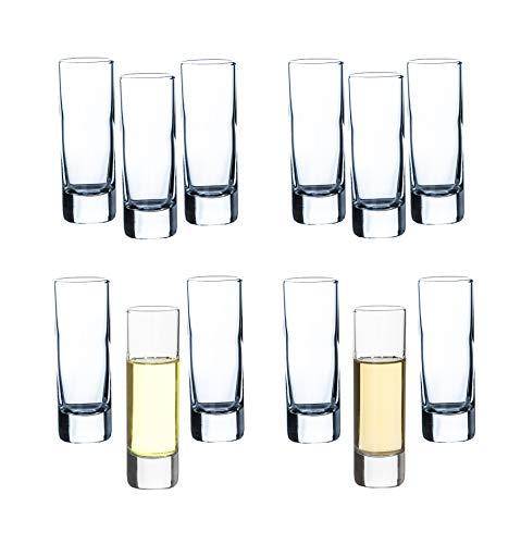 12er Set Schnapsgläser 60ml - Klassisches Schnapsglas - 6 cl Volumen - Robust & Spülmaschinenfest - Sattes Eigengewicht, liegt wertig in der Hand - Ideal für Grappa, Cognac, Wodka, Korn und Armagnac