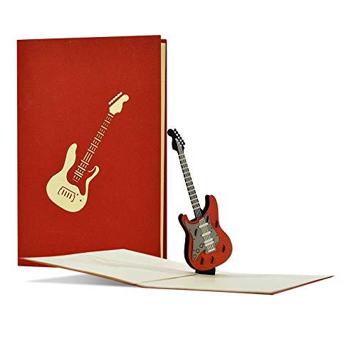 Rockige Geburtstagskarte mit 3D Pop-up E Gitarre|Gutschein oder Geschenk für Musiker|Geschenkgutschein für Gitarre, Konzert, Festival, Musical|H23