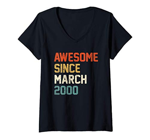 Womens Awesome Since March 2000 21st Birthday Gift 21 Year Old V-Neck T-Shirt