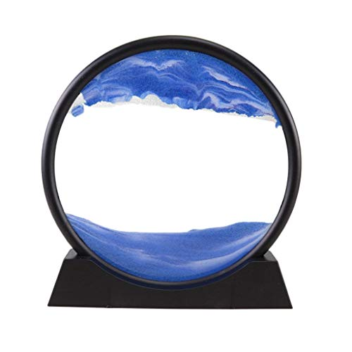 LTHTX Moving Sand Art Picture, Round Glass with ABS Stent 3D Deep Sea Sandscape in Motion Display Flowing Sand Picture (Blue)