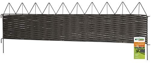 Windhager Beeteinfassung Typ 13 PVC Rattan Steckzaun Rasenkante Beetumrandung Palisade, eckig, anthrazit, 35 x 100 cm, 06463