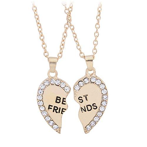 Fletion - Accessori Moda: 2 Collane dell'Amicizia, con Ciondolo a Cuore, Motivo: 'Miglio amico', 2 metà del cuore , colore: oro