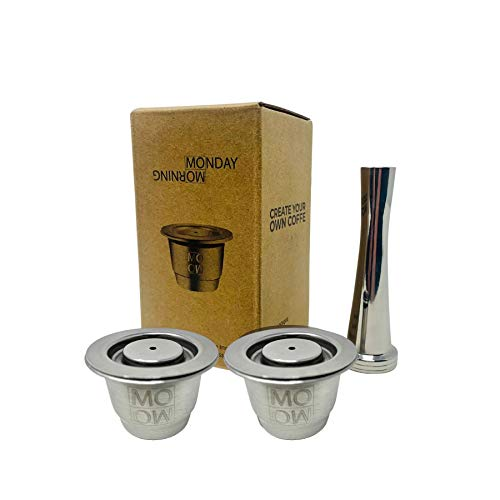 Monday Morning Capsule Réutilisable en Inox Compatible Nespresso (2 Capsules + 1 Tamper)